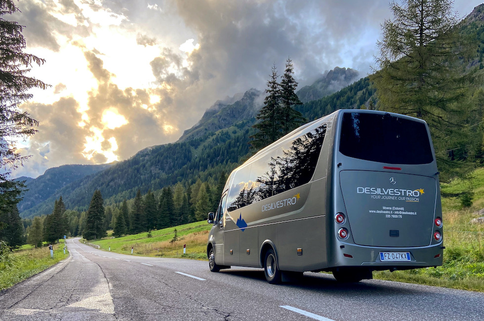 Transfer service Val di Fassa with a 22-seater Mercedes minibus